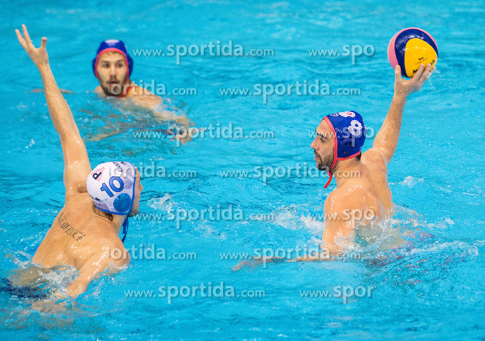 Gonzalo Echenique of Primorje vs Georgios Ntoskas of Olympiacos during water polo match between Primorje Erste Bank (CRO) and Olympiacos Piraeus (GRE) in 8th Round of Champions League 2016, on April 16, 2016 in Kantrida pool, Rijeka, Croatia. Photo by Vid Ponikvar / Sportida
