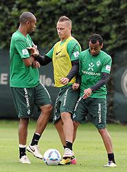 19.08.2011, Trainingsgelaende, Bremen, GER, 1.FBL, Training Werder Bremen, im Bild Naldo (Bremen #4), Marko Arnautovic (Bremen #7), Wesley (Bremen #5)..// during training session from Werder Bremen on 2011/08/19, Trainingsgelaende, Bremen, Germany..EXPA Pictures © 2011, PhotoCredit: EXPA/ nph/  Frisch       ****** out of GER / CRO  / BEL ******