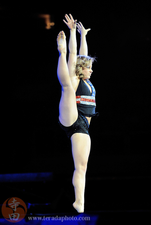 Sep 21, 2008; San Jose, CA, USA; Shawn Johnson performs on the floor during the 2008 Tour of Gymnastics Superstars post-Beijing Olympic tour at HP Pavilion in San Jose, CA. Mandatory Credit: Kyle Terada-Terada Photo
