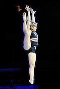 Sep 21, 2008; San Jose, CA, USA; Shawn Johnson performs on the floor during the 2008 Tour of Gymnastics Superstars post-Beijing Olympic tour at HP Pavilion in San Jose, CA. Mandatory Credit: Kyle Terada-Terada Photo