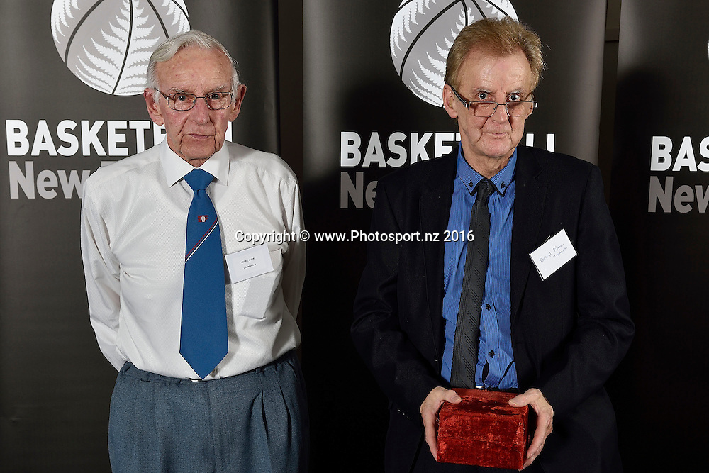 Darrel Flynn-Thompson (R receives the Cedric Cudby Vounteer Award from Cedric Cudby (L) during the Basketball New Zealand awards evening at the Mercure Hotel in Wellington on Friday the 20th of May 2016. Copyright Photo by Marty Melville / www.Photosport.nz