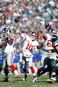 New York Giants quarterback Eli Manning (10) passes the ball during the NFL week 8 football game against the Philadelphia Eagles on Sunday, Oct. 27, 2013, at Lincoln Financial Field in Philadelphia, Pennsylvania. The Giants won the game 15-7. (Joe Robbins)