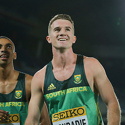 YOKOHAMA, JAPAN - MAY 11: Gardeo Isaacs and Pieter Conradie of South Africa during day 1 of the IAAF World Relays at Nissan Stadium on May 11, 2019 in Yokohama, Japan. (Photo by Roger Sedres/Gallo Images)