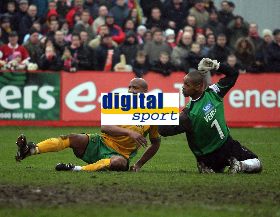 Photo: Rich Eaton.<br /> <br /> Tamworth FC v Norwich City. The FA Cup. 06/01/2007. Jose Veiga the Tamworth keeper watches Dion Dublins lob go in to make the score 4-0 in the second half