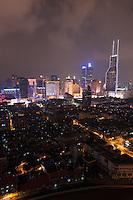 night view over Shanghai China