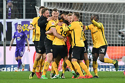 01.04.2019, Sparkassen Erzgebirgsstadion, Aue, GER, 2. FBL, FC Erzgebirge Aue vs SG Dynamo Dresden, 27. Runde, im Bild Mannschaft von Dynamo Dresden bejubelt das 2:1, // during the German 2. Bundesliga 27th round match between FC Erzgebirge Aue and SG Dynamo Dresden at the Sparkassen Erzgebirgsstadion in Aue, Germany on 2019/04/01. EXPA Pictures © 2019, PhotoCredit: EXPA/ Eibner-Pressefoto/ Bert_Harzer<br /> <br /> *****ATTENTION - OUT of GER*****