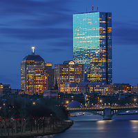Boston photography showing familiar landmark along the Charles River, such as the 200 Clarendon better known as the John Hancock Tower with the newly renovated Longfellow Bridge. <br />