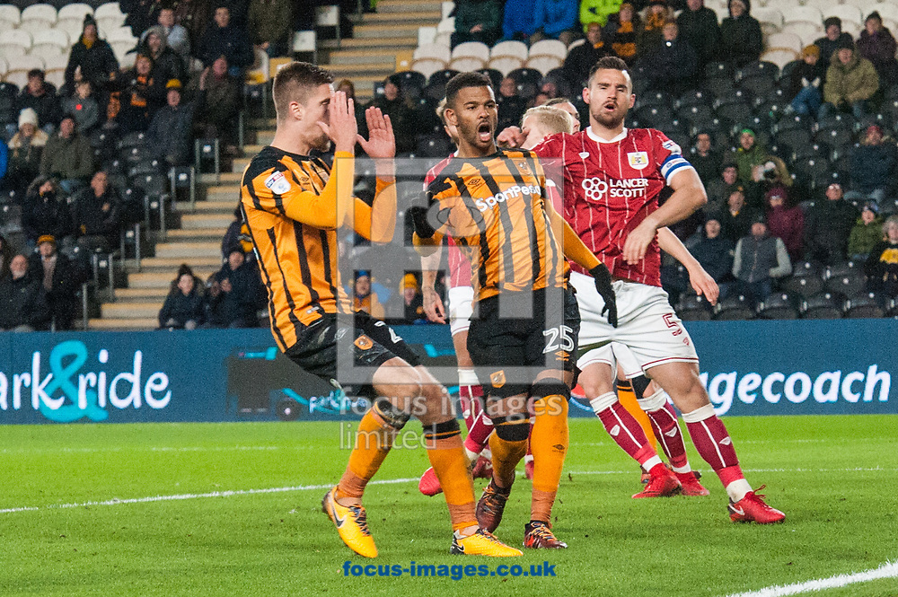 Markus Henriksen (left) and Fraizer Campbell of Hull City are distraught after Jackson Irvine heads narrowly wide during the Sky Bet Championship match at the KCOM Stadium, Hull<br /> Picture by Matt Wilkinson/Focus Images Ltd 07814 960751<br /> 25/11/2017