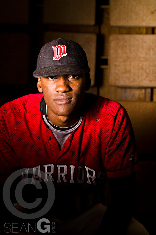Martin High School outfielder Brian Ragira poses for a portrait at Warrior Field in Arlington, Texas, Monday, April 5, 2010. (Photo by Sean Gallagher)