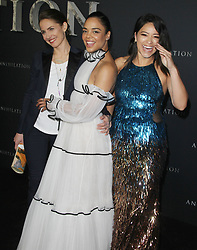 Annihilation Los Angeles Premiere at The Regency Village Theatre in Westwood, California on 2/13/18. 13 Feb 2018 Pictured: Tuva Novotny, Natalie Portman, Gina Rodriguez. Photo credit: River / MEGA TheMegaAgency.com +1 888 505 6342