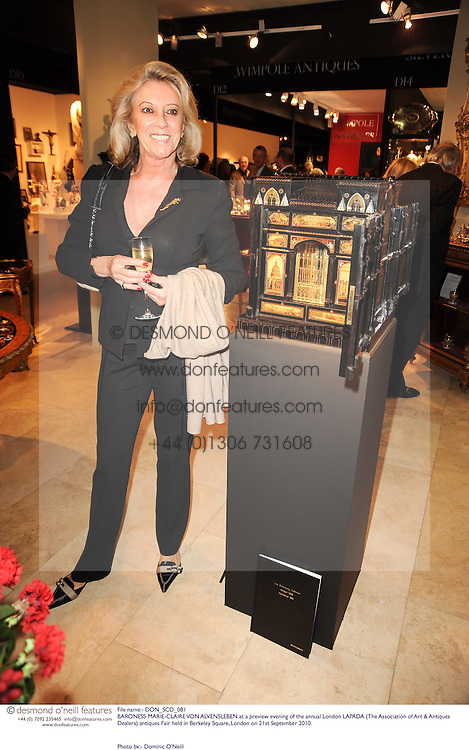 BARONESS MARIE-CLAIRE VON ALVENSLEBEN at a preview evening of the annual London LAPADA (The Association of Art & Antiques Dealers) antiques Fair held in Berkeley Square, London on 21st September 2010. *** Local Caption *** Image free to use for 1 year from image capture date as long as image is used in context with story the image was taken.  If in doubt contact us - info@donfeatures.com<br /> BARONESS MARIE-CLAIRE VON ALVENSLEBEN at a preview evening of the annual London LAPADA (The Association of Art & Antiques Dealers) antiques Fair held in Berkeley Square, London on 21st September 2010.