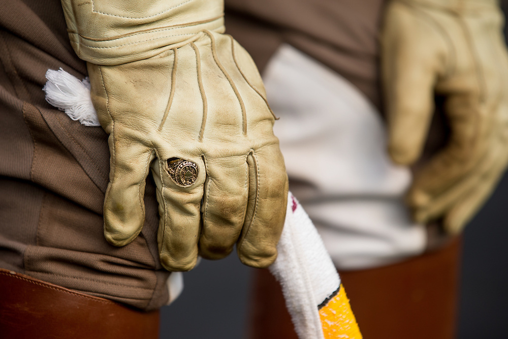 Detail of a Texas A&M cadet's glove cut out for a class ring, Alabama at Texas A&M, photographed at Kyle Field in College Station, Texas.