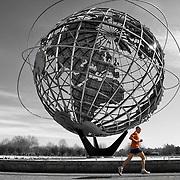 Lead runner during the New York City Half Marathon. Mandatory Credit: Kostas Lymperopoulos