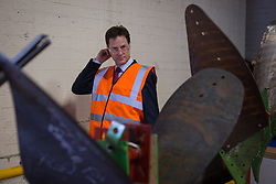 © Licensed to London News Pictures . 04/07/2014 . Sheffield , UK . The Deputy Prime Minister , NICK CLEGG MP , walking by metal things at Chapmans Agricultural Parts on Friday 4th July 2014 as this morning (Monday 7th June 2014) Nick Clegg launches the British Government's local Growth Deals . The Government says that £12 billion will be invested in local business , training and infrastructure projects .  Photo credit : Joel Goodman/LNP .  Photo credit : Joel Goodman/LNP