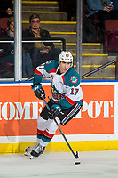 KELOWNA, CANADA - JANUARY 19: Alex Swetlikoff #17 of the Kelowna Rockets skates with the puck against the Prince Albert Raiders  on January 19, 2019 at Prospera Place in Kelowna, British Columbia, Canada.  (Photo by Marissa Baecker/Shoot the Breeze)