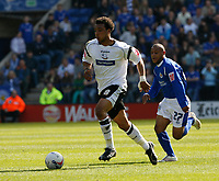 Photo: Steve Bond.<br />Leicester City v Derby County. Coca Cola Championship. 06/04/2007. Giles Barnes (L) attacks. Levi Porter (R) chases