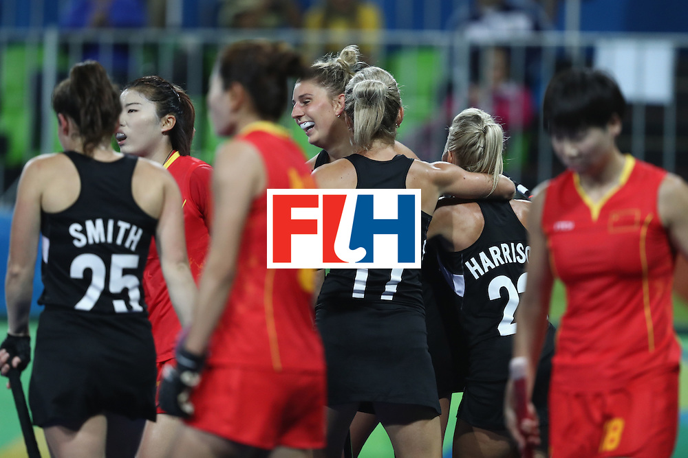 RIO DE JANEIRO, BRAZIL - AUGUST 13:  New Zealand celebrate a goal in the Women's Pool A match between the People's Republic of China and New Zealand on Day 8 of the Rio 2016 Olympic Games at the Olympic Hockey Centre on August 13, 2016 in Rio de Janeiro, Brazil.  (Photo by Phil Walter/Getty Images)