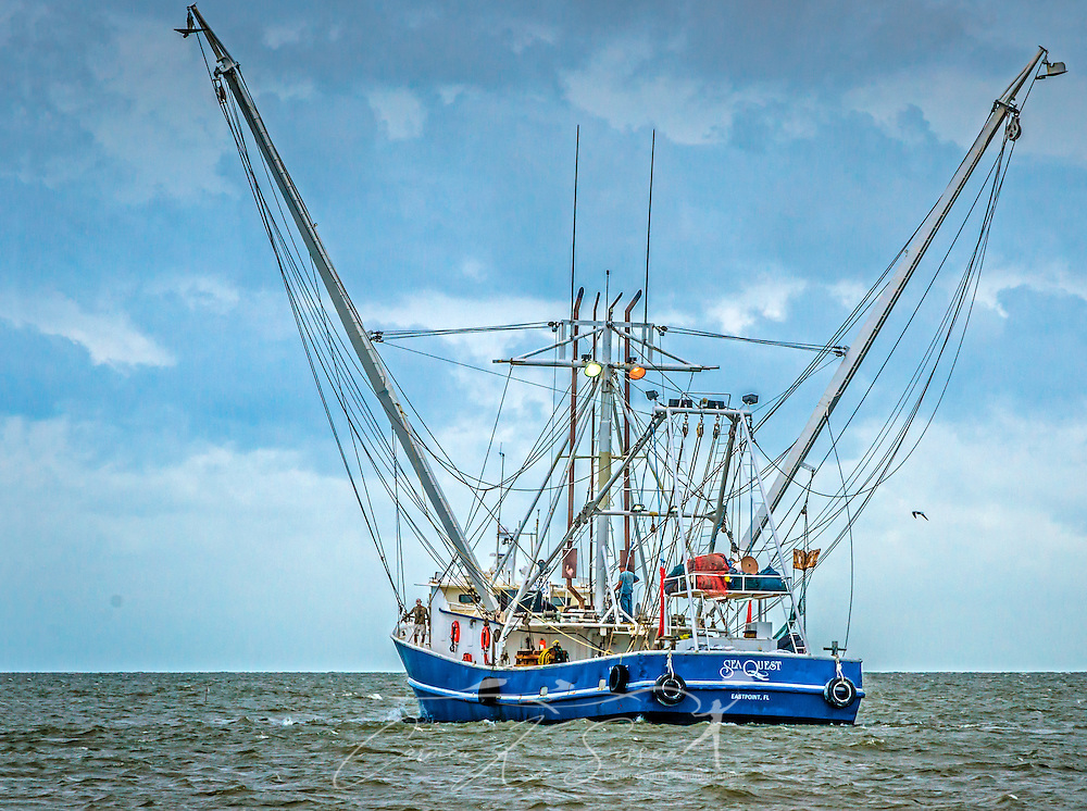 """The Sea Quest shrimp boat heads out of Bayou La Batre, Alabama, May 16, 2015, for an evening of shrimping. The boat is based in Eastpoint, Fla. Bayou La Batre is known as the """"Seafood Capital of Alabama."""" (Photo by Carmen K. Sisson/Cloudybright)"""