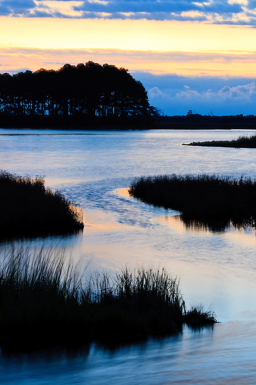 View of the Black Duck Pool just before an October sunrise, Chincoteague National Wildlife Refuge, Assateague Island, Virginia.