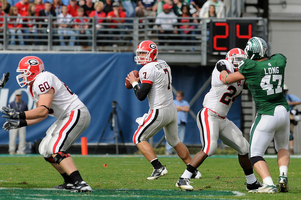 January 1, 2009: Matthew Stafford of the Georgia Bulldogs in action during the NCAA football game between the Michigan State Spartans and the Georgia Bulldogs in the Capital One Bowl. The Spartans were leading the Bulldogs 6-3 at halftime.