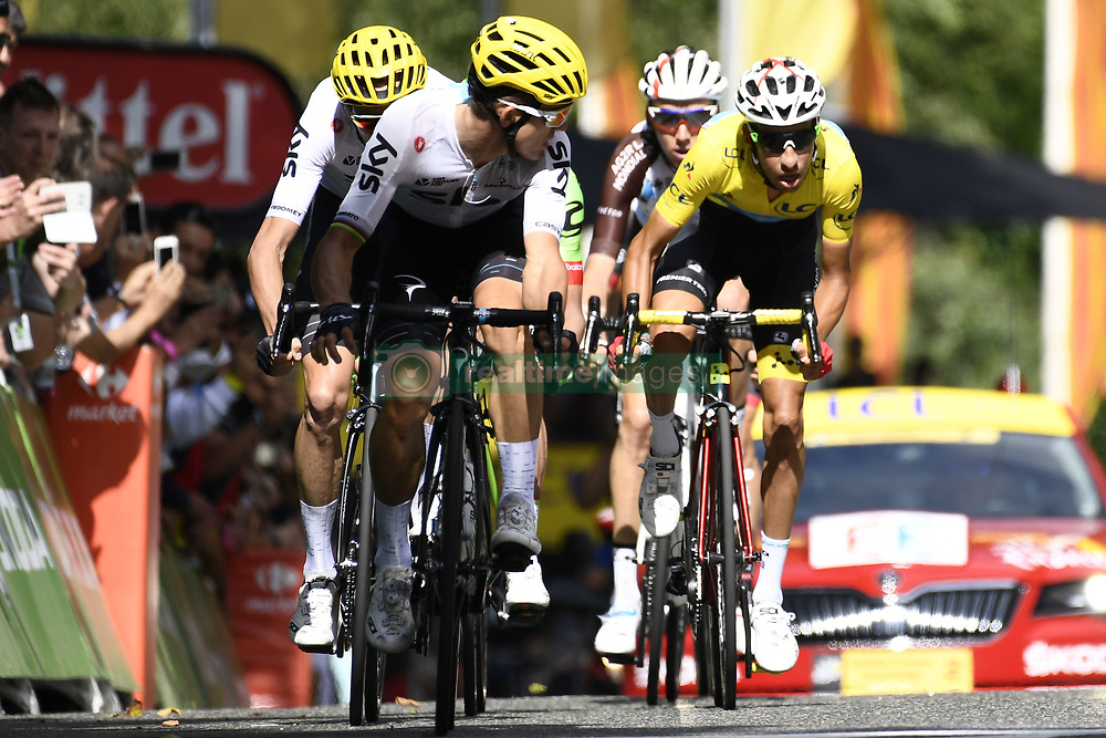 July 14, 2017 - Foix, FRANCE - British Chris Froome of Team Sky, Polish Michal Kwiatkowski of Team Sky and Italian Fabio Aru of Astana Pro Time pictured during the arrival of the 13th stage of the 104th edition of the Tour de France cycling race, 101km from Saint-Girons to Foix, France, Friday 14 July 2017. This year's Tour de France takes place from July first to July 23rd. BELGA PHOTO YORICK JANSENS (Credit Image: © Yorick Jansens/Belga via ZUMA Press)