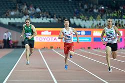 18/07/2017 : Paul Keogan (IRL), Michal Kotkowski (POL), Sofiane Hamdi (ALG), T37, Men's 200m, Final, at the 2017 World Para Athletics Championships, Olympic Stadium, London, United Kingdom