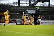 Northampton Town midfielder John-Joe O'Toole is booked during the Sky Bet League 2 match between Northampton Town and Yeovil Town at Sixfields Stadium, Northampton, England on 28 November 2015. Photo by Dennis Goodwin.