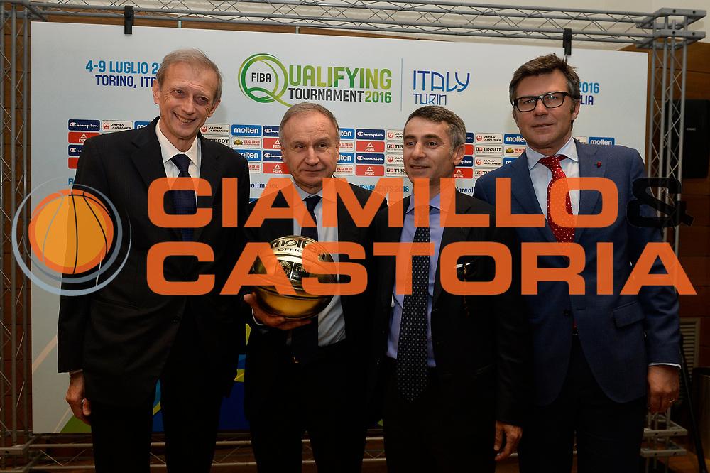 DESCRIZIONE : Torino presentazione torneo Pre Olimpico Torino 2016<br /> GIOCATORE : Piero Fassino Giovanni Petrucci Giovanni Maria Ferraris Paolo Bellino<br /> CATEGORIA : ritratto<br /> EVENTO : Presentazione torneo Pre Olimpico Torino 2016<br /> GARA : Presentazione torneo Pre Olimpico Torino 2016<br /> DATA : 15/04/2016<br /> SPORT : Pallacanestro<br /> AUTORE : Agenzia Ciamillo-Castoria/R.Morgano<br /> Galleria : FIP Nazionali 2016