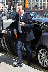 © Licensed to London News Pictures. 03/05/2016. LONDON, UK.  DAVID CAMERON arrives at a service of Thanksgiving for the life and work of former Chancellor of the Exchequer, Rt Hon The Lord Geoffrey Howe of Aberavon CH PC QC at St Margaret's Church, Westminster Abbey.  Photo credit: Vickie Flores/LNP
