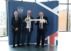 Scottish Secretary of State David Mundell received the keys to the new UK Government building in Edinburgh.<br /> <br /> The new hub is due to open in early 2020 and bring together nearly 3,000 UK Government civil servants.<br /> <br /> Pictured: (l to r) Seamus McAleer (founder & chairman, McAleer and Rushe), Clive Wilding (Property Director, Artisan Real Estate), and David Mundell MP <br /> <br /> Alex Todd | Edinburgh Elite media
