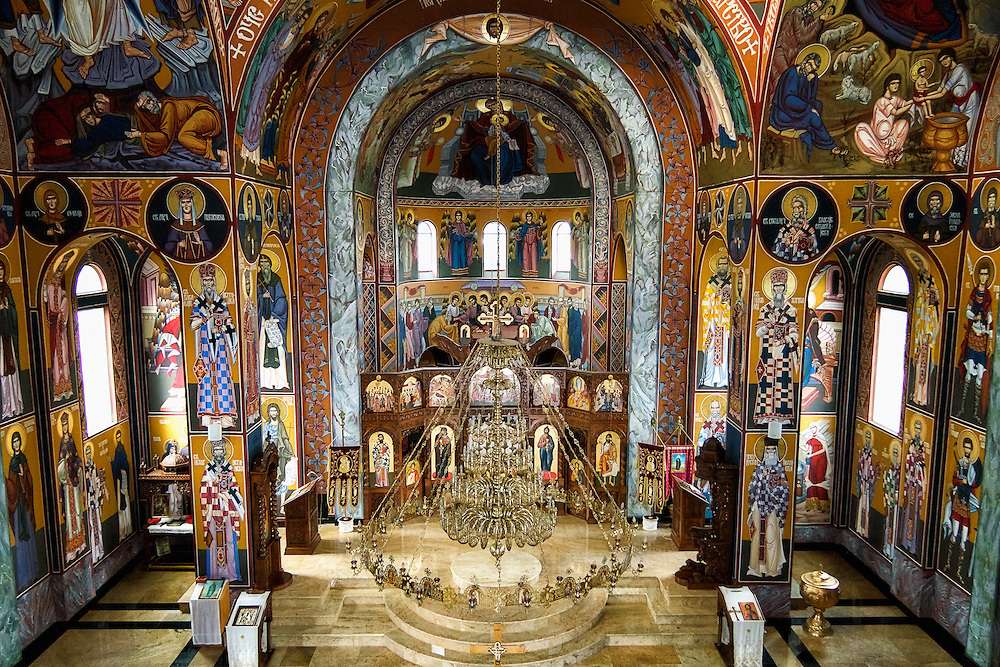 The beautiful Byzantine interior of the All Serbian Saints Orthodox Church, Toronto (Canada).<br />