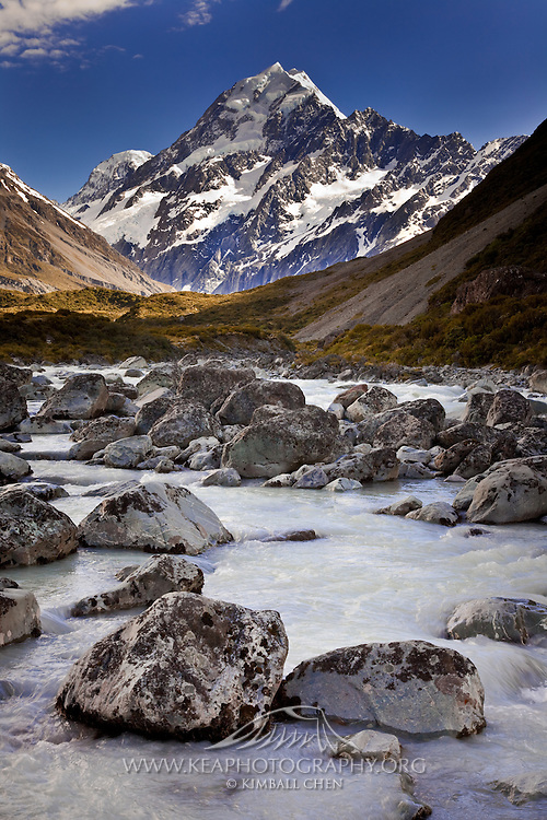 The milky Hooker River south of Mount Cook, New Zealand.
