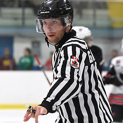 GEORGETOWN, ON - Apr 20, 2016 -  Ontario Junior Hockey League game action between the against the Trenton Golden Hawks and the Georgetown Raiders. Game 4 of the Buckland Cup Championship Series, at the Gordon Alcott Memorial Arena in Georgetown, Ontario. OHA Linesman Scott Gallant during the third period.<br /> (Photo by Andy Corneau / OJHL Images)