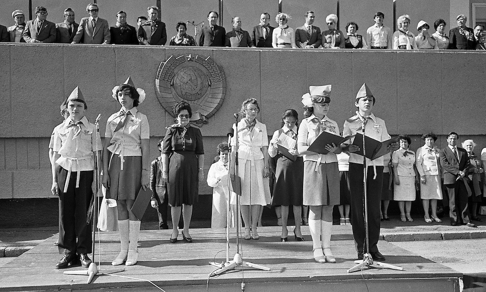 Young Pioneer attend their school fest in Kemerovo, Eastern Siberia, 1979. The Young Pioneer Organization of the Soviet Union, also Vladimir Lenin All-Union Pioneer Organization was a mass youth organization of the USSR for children of age 10–15 in the Soviet Union between 1922 and 1991..B&W negative film 35mm.