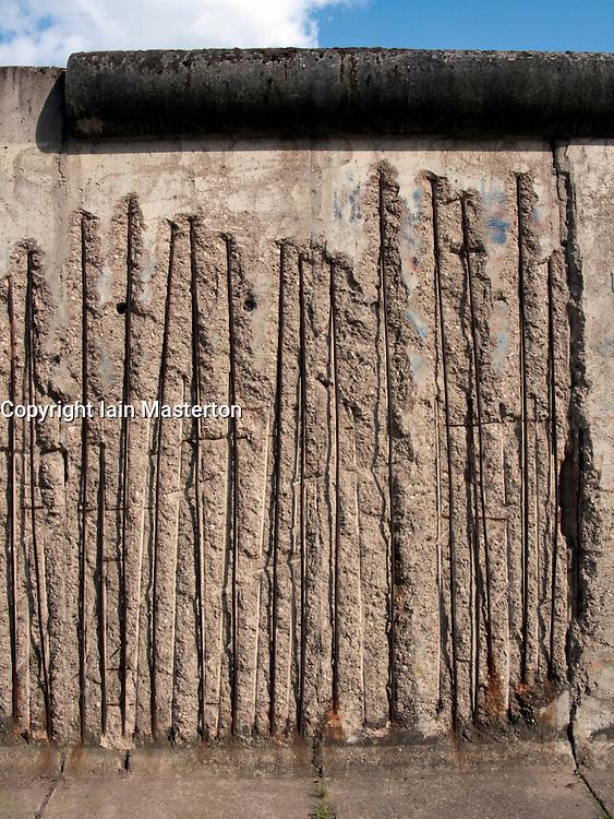 Detail of original Berlin Wall at Berlin Wall Memorial site at Bernauer Strasse in Berlin
