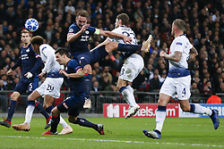 BRITAIN-LONDON-FOOTBALL-CHAPIONS LEAGUE-HOTSPUR VS EINDHOVEN.(181106) -- LONDON, Nov. 6, 2018  Eindhoven's Luuk de Jong ?3rd R?heads for the ball during the UEFA Champions League match between Tottenham Hotspur and PSV Eindhoven in London, Britain on Nov. 6, 2018. Tottenham Hotspur won 2-1.  FOR EDITORIAL USE ONLY. NOT FOR SALE FOR MARKETING OR ADVERTISING CAMPAIGNS. NO USE WITH UNAUTHORIZED AUDIO, VIDEO, DATA, FIXTURE LISTS, CLUBLEAGUE LOGOS OR ''LIVE'' SERVICES. ONLINE IN-MATCH USE LIMITED TO 45 IMAGES, NO VIDEO EMULATION. NO USE IN BETTING, GAMES OR SINGLE CLUBLEAGUEPLAYER PUBLICATIONS. (Credit Image: © Xinhua via ZUMA Wire)