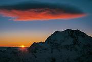 Sunset behind Aoraki Mt Cook, windcloud over Southern Alps, aerial view over Tasman glacier, Aoraki  Mount Cook National Park, New Zealand