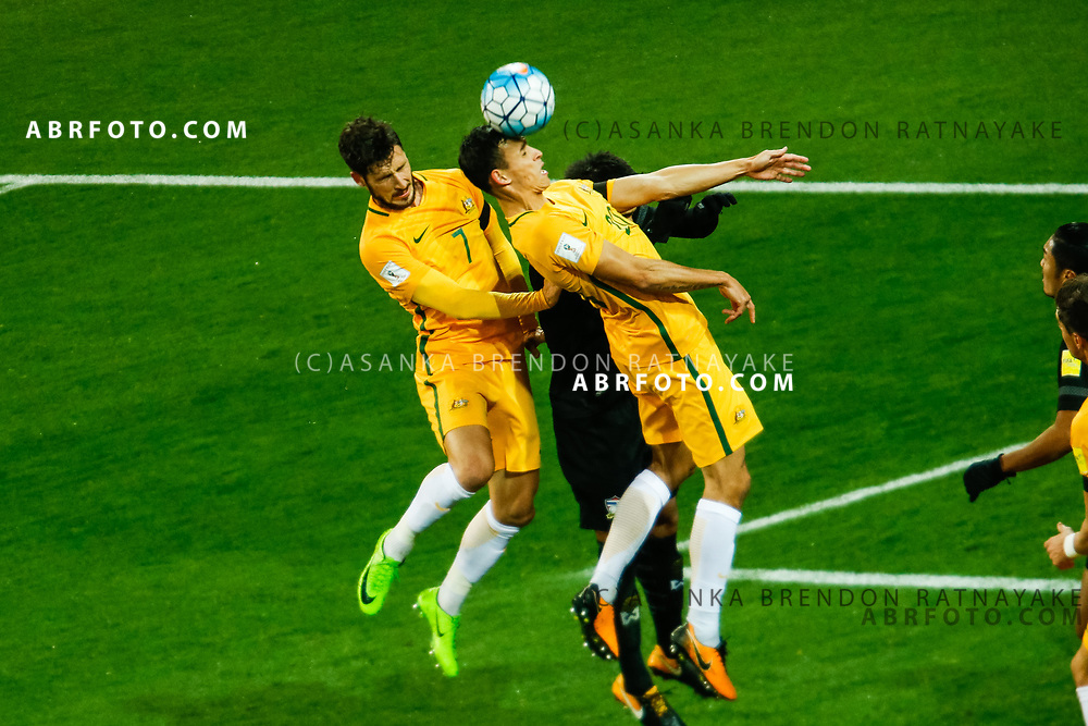 MELBOURNE, AUSTRALIA - SEPTEMBER 5 :  Trent Sainsbury of the Australia Socceroos heads the ball during the Stage 3 Group World Cup Football Qualifiers between Australia Vs Thailand at the Melbourne Rectangular Stadium, Melbourne, Australia 5 September 2017.