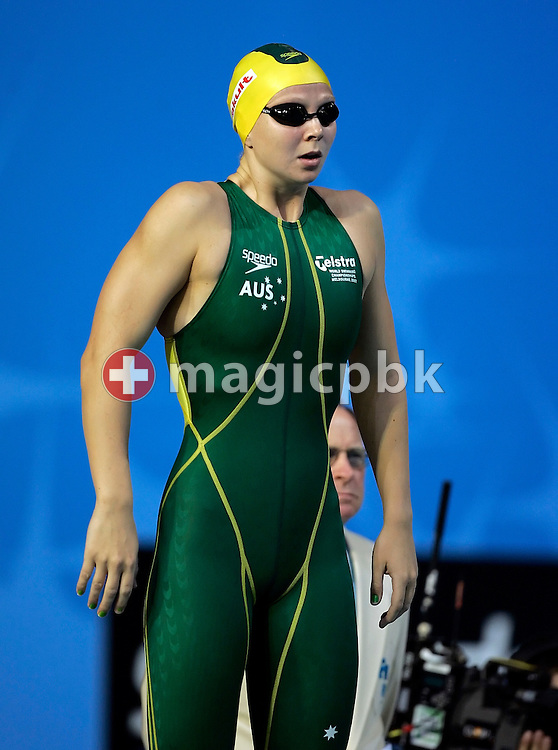 Melanie Schlanger of Australia prepares herself before competing on the second leg in the women's 4x100m freestyle relay final in the Susie O'Neill pool at the FINA Swimming World Championships in Melbourne, Australia, Sunday 25 March 2007. (Photo by Patrick B. Kraemer / MAGICPBK)