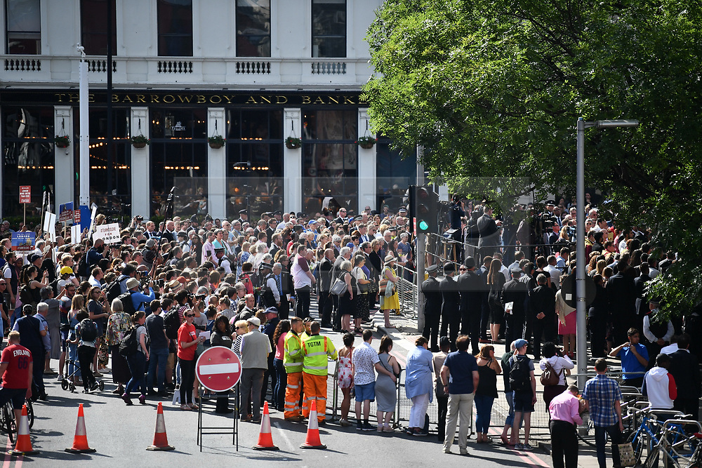 © Licensed to London News Pictures. 03/06/2018. London, UK. A minutes silence for the victims of the 2017 London Bridge terror attack at London Bridge. Eight people were killed and 48 were injured when a van was deliberately driven into pedestrians on London Bridge. Three occupants then ran to the nearby Borough Market area carrying knives and fake explosives. Photo credit: Ben Cawthra/LNP