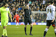 Match referee Lee Mason during the Sky Bet Championship match between Derby County and Brighton and Hove Albion at the iPro Stadium, Derby, England on 12 December 2015. Photo by Shane Healey.