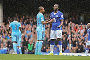midfielder Fernandinho & forward Romelu Lukaku during the Barclays Premier League match between Everton and Manchester City at Goodison Park, Liverpool, England on 23 August 2015. Photo by Simon Davies.