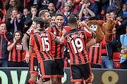 AFC Bournemouth Players Celebrate after AFC Bournemouth Defender, Charlie Daniels (11) scores the opening goal 1-0 during the Premier League match between Bournemouth and Hull City at the Vitality Stadium, Bournemouth, England on 15 October 2016. Photo by Adam Rivers.