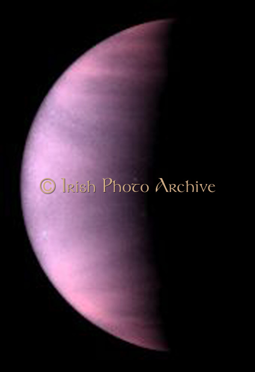 Venus Cloud Tops Viewed by Hubble. This is a NASA Hubble Space Telescope ultraviolet-light image of the planet Venus, taken on January 24 1995, when Venus was at a distance of 70.6 million miles (113.6 million kilometres) from Earth. Venus is covered with clouds made of sulphuric acid, rather than the water-vapour clouds found on Earth. These clouds permanently shroud Venus' volcanic surface, which has been radar mapped by spacecraft and from Earth-based telescope.