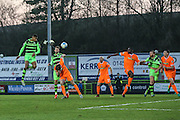 Forest Green Rovers Ethan Pinnock(16) heads the ball misses the target during the Vanarama National League match between Forest Green Rovers and Braintree Town at the New Lawn, Forest Green, United Kingdom on 21 January 2017. Photo by Shane Healey.