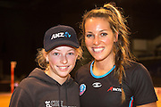 Sammie Withers, 12 years old for an ANZ VIP experience with Gemma Hazeldine for the Tactix during the ANZ Championship Netball game between the Mainland Tactix v Adelaide Thunderbirds at Horncastle Arena in Christchurch. 20th April 2015 Photo: Joseph Johnson/www.photosport.co.nz