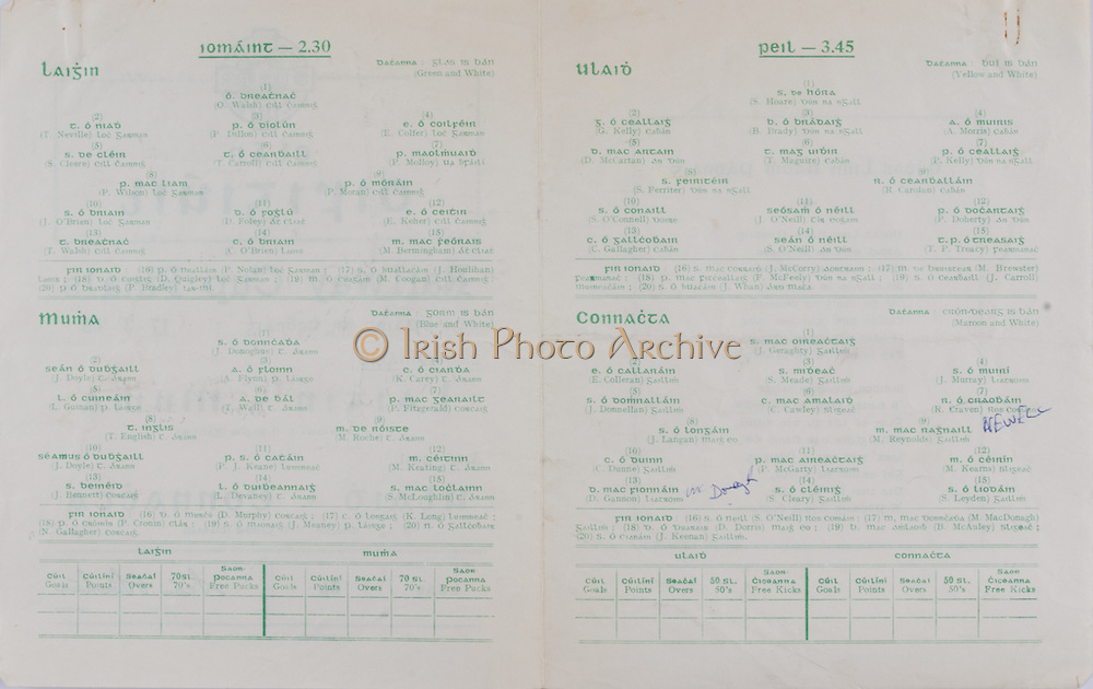 Interprovincial Railway Cup Football Cup Final,  17.03.1965, 03.17.1965, 17th March 1965, referee S O'Pairbit , Connacht 0-15, Ulster 0-19, Football Team Ulster, S Hoare, G Kelly, B Brady, A Morris, D McCartan, T Maguire, P Kelly, S Ferriter, R Carolan, S O'Connell, J O'Neill, P Doherty, C Gallagher, S O'Neill, T P Treacy, Football Team Connacht, J Geraghty, E Colleran, S Meade, J Murray, J Donnellan, C Cawley, R Craven, J Langan, M Reynolds, C Dunne, P McGarty, M Kearns, D Gannon, S Cleary, S Leyden, .Interprovincial Railway Cup Hurling Cup Final,  17.03.1965, 03.17.1965, 17th March 1965, referee S O' Dugain, Leinster 3-11, Munster 0-09, Hurling Team Leinster, O Walsh, T Neville, P Dillon, E Colfer, S Cleere, T Carroll, P Molloy, P Wilson, P Moran, J O'Brien, D Foley, E Keher, T Walsh, C O'Brien, M Bermingham, Hurling Team Munster, J Donoghue, J Doyle, A Flynn, K Carey, L Guinan, T Wall, P Fitzgerald, T English, M Roche, J Doyle, P J Keane, M Keating, J Bennett, L Devaney, S McLoughlin, ..