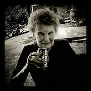 """""""Don't put me on Facebook,"""" said Mary Ella Kirgis as she drinks a bad ass beer at her 85th birthday party."""