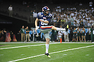 Ole Miss kicker Jim Broadway (82) vs. Tulane in the first half at the Mercedes-Benz Superdone in New Orleans, La. on Saturday, September 22, 2012. Ole Miss won 39-0...