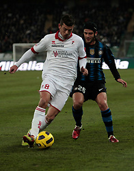Bari (BA), 03-02-2011 ITALY - Italian Soccer Championship Day 23 - Bari VS Inter..Pictured: Donati (B) Chivu (I).Photo by Giovanni Marino/OTNPhotos . Obligatory Credit